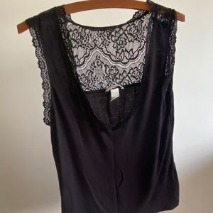 H&M black top with lace detail low back